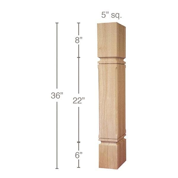 "Mission Chamfered Corner Island Column, 5""sq. x 36""h"