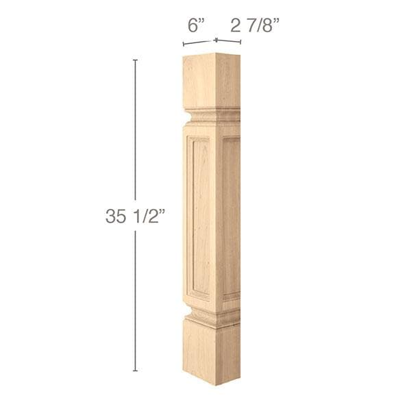 "Medium Traditional Column Half, 6"" sq. x 35 1/2""h, 1 Pair"