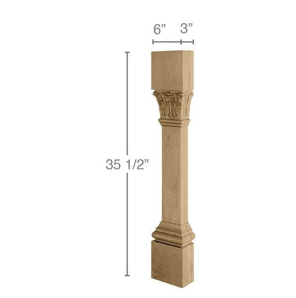 Ionic Acanthus Column Split, 1 Pair, 6