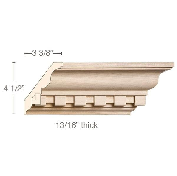 Large Double Cut Dentil, 5 1/2''w x 13/16''d