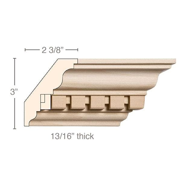Small Double Cut Dentil, 3 3/4''w x 13/16''d