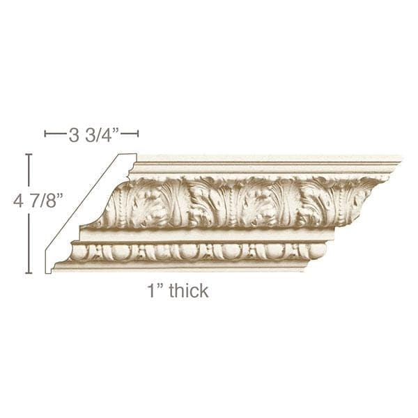 Medium Acanthus with Egg and Dart, 6''w x 1''d
