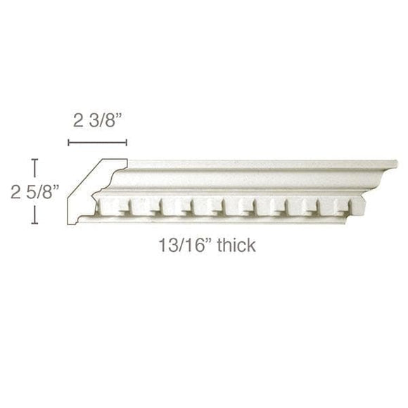 Small Dentil Crown (Dentil is overlay), 3 1/2''w x 13/16''d