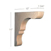 "Transitional Overhang Bar Bracket Corbel, 1 3/4""w x 10""h x 10""d"