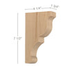 "Transitional Small Bar Bracket Corbel, 1 3/4""w x 7 1/2""h x 4 1/4""d"