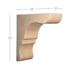 "Transitional Overhang Bar Bracket Corbel, 3""w x 10""h x 10""d"