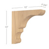 "Transitional Overhang Bar Bracket Corbel, 4 3/4""w x 10""h x 10""d"