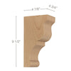 "Transitional Medium Bar Bracket Corbel, 4 3/4""w x 9 1/2""h x 4 7/8""d"