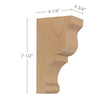 "Transitional Small Bar Bracket Corbel, 4 3/4""w x 7 1/2""h x 4 1/4""d"