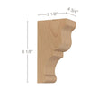 "Transitional Extra Small Bar Bracket Corbel, 4 3/4""w x 6 1/8""h x 3 1/2""d"