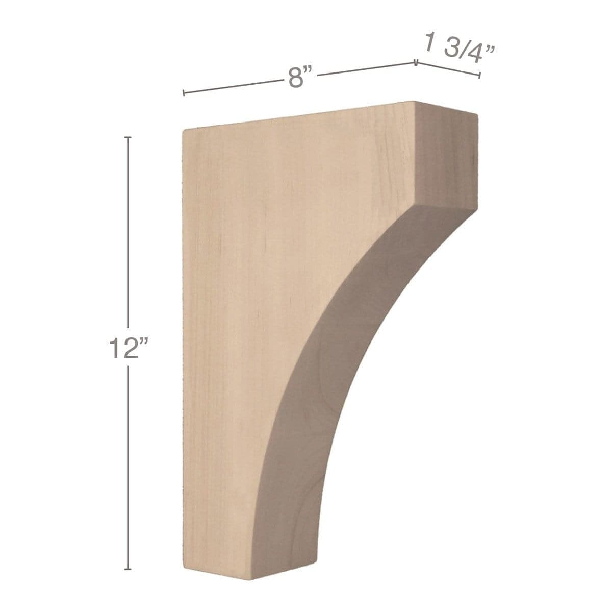 "Contemporary Large Bar Bracket Corbel, 1 3/4""w x 12""h x 8""d"