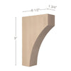 "Contemporary Medium Bar Bracket Corbel, 1 3/4""w x 9""h x 6 1/2""d"