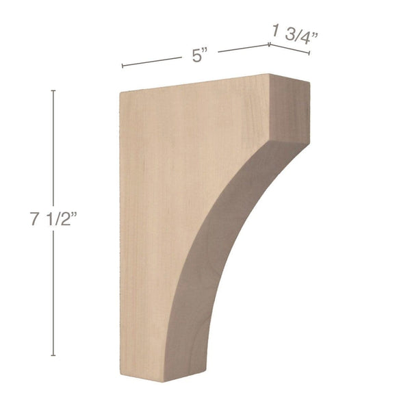 Contemporary Small Bar Bracket Corbel, 1 3/4