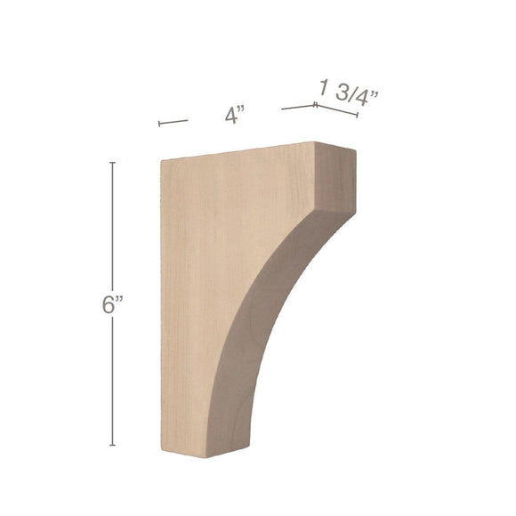 Contemporary Extra Small Bar Bracket Corbel, 1 3/4
