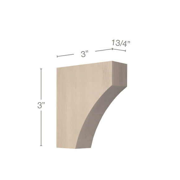 Contemporary Petite Bar Bracket Corbel, 1 3/4