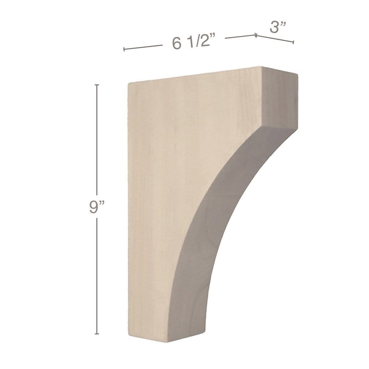 "Contemporary Medium Bar Bracket Corbel, 3""w x 9""h x 6 1/2""d"