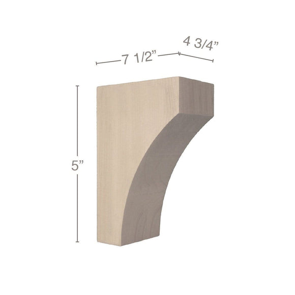 Contemporary Small Bar Bracket Corbel, 4 3/4