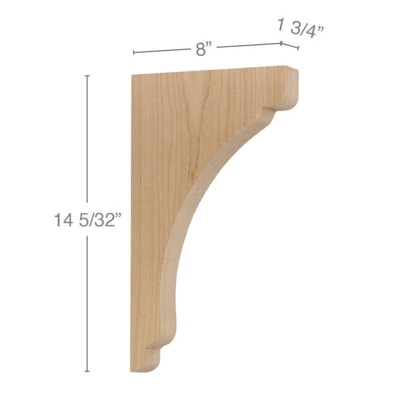 Shaker Large Bar Bracket Corbel, 1 3/4