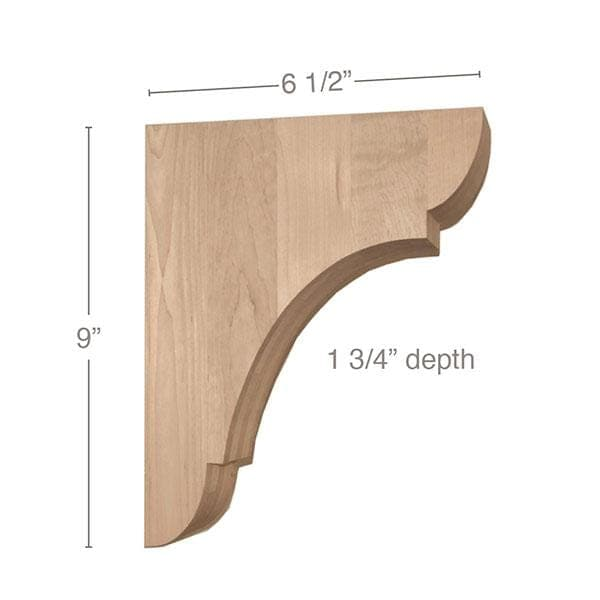 "Classic Medium Bar Bracket Corbel, 1 3/4""w x 9""h x 6 1/2""d"