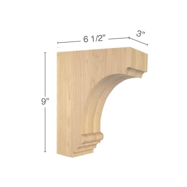 "Cavetto Medium Bar Bracket, 3""w x 9""h x 6  1/2""d"