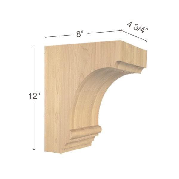 "Cavetto Large Bar Bracket, 4  3/4""w x 12""h x 8""d"