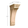 Medium Mission Bracket Corbel, 3 1/2''w x 12''h x 7 1/2''d