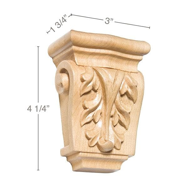 Petite Acanthus Corbel (Sold 2 per card), 3''w x 4 1/4''h x 1 3/4''d, Lindenwood