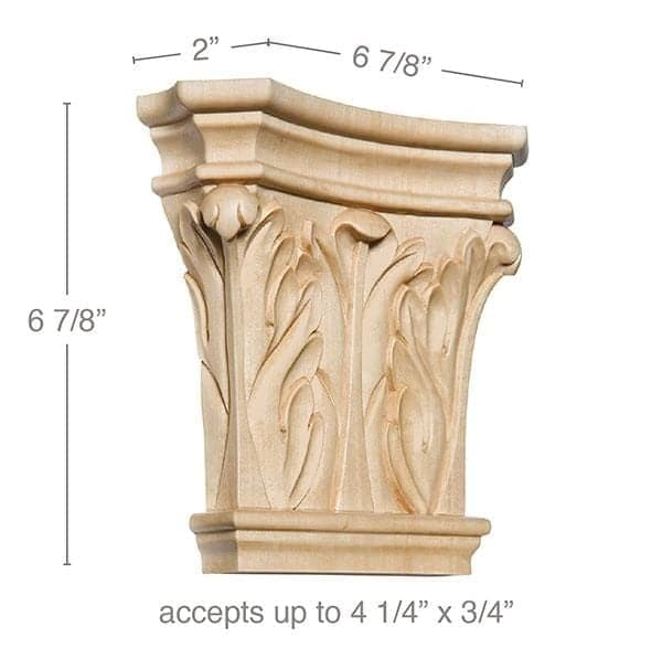 "Large Corinthian Capital, 6 7/8""w x 6 7/8""h x 2""d, (accepts up to 4 1/4""w x 3/4""d)"