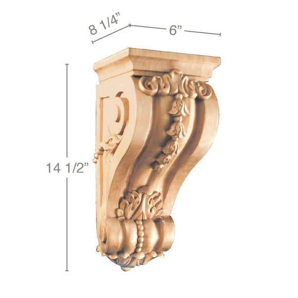 Large Bellflower Corbel, 6''w x 14 1/2''h x 8 1/4''d