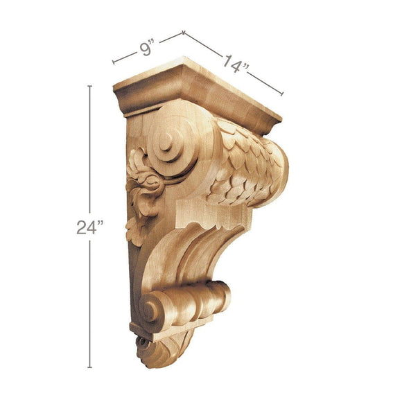 X-Large Imbricated Corbel, 14''w x 24''h x 9''d