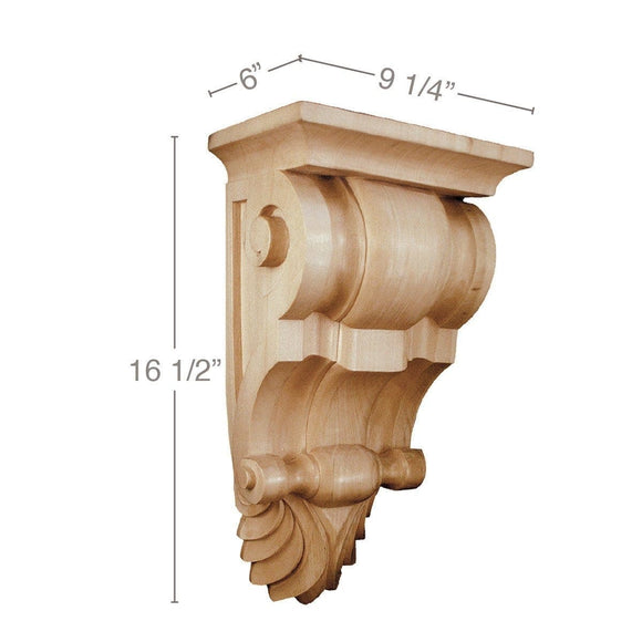 Large Fluted Corbel, 9 1/4''w x 16 1/2''h x 6''d