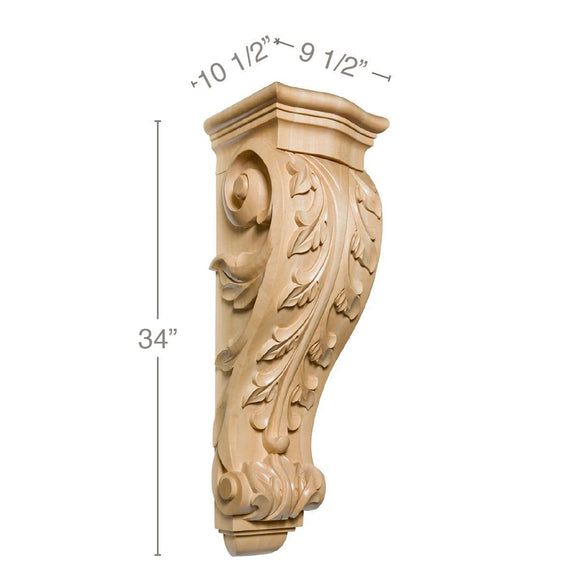 X-Large Acanthus Corbel, 9 1/2