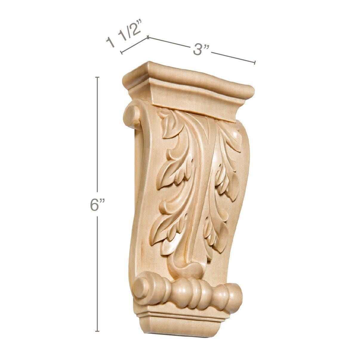 "Small Acanthus Corbel, 3""w x 6""h x 1 1/2""d"