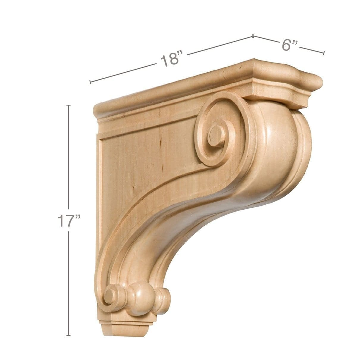 "Large Traditional Corbel, 6""w x 17""h x 18""d"