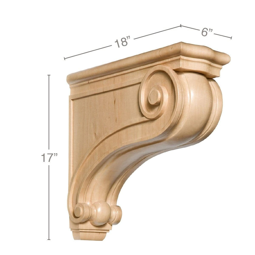 Large Traditional Corbel 6 W X 17 H X 18 D White River Hardwoods