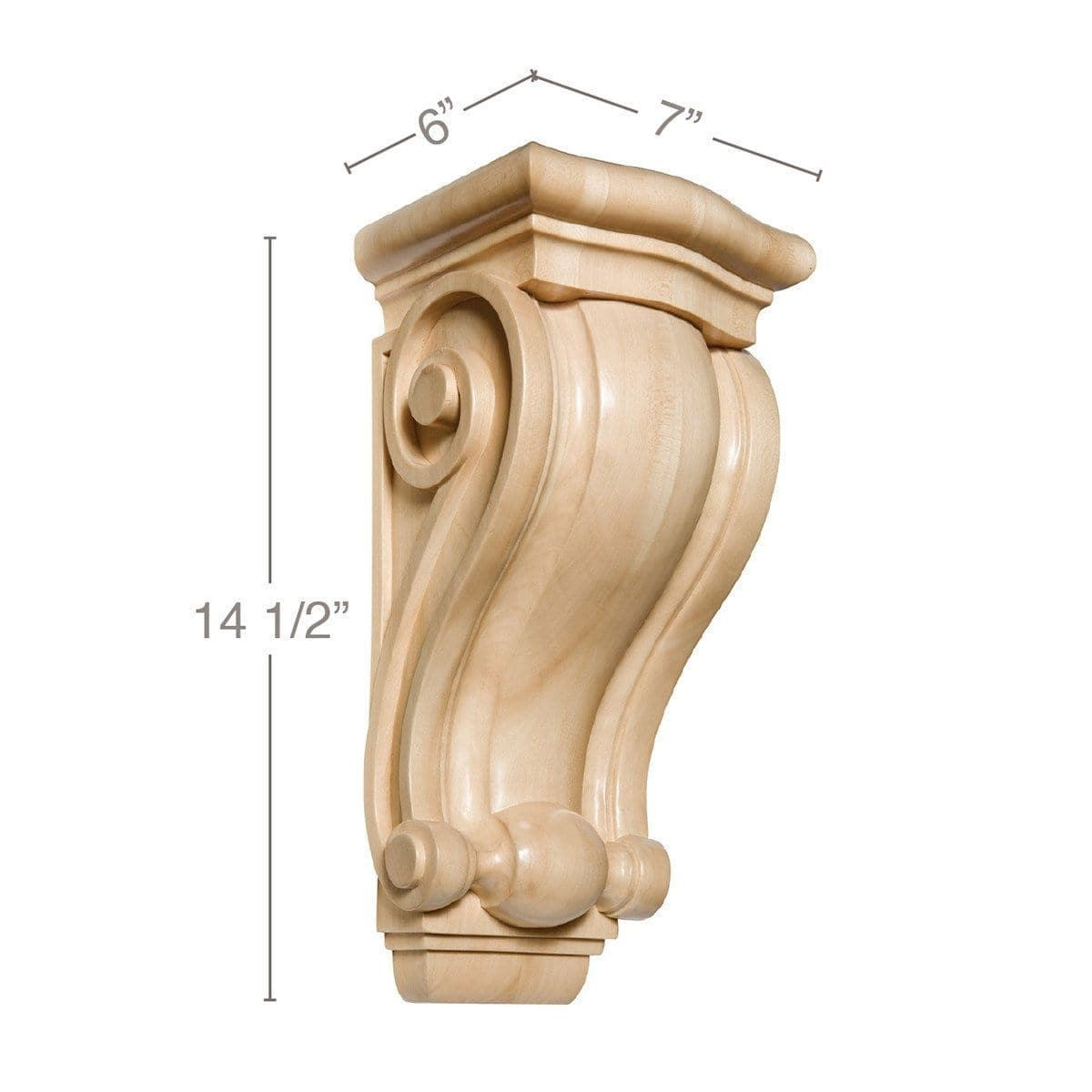 "Large Traditional Corbel, 7""w x 14 1/2""h x 6""d"