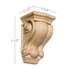 "Small Traditional Corbel, 2 5/8""w x 4 1/2""h x 2 1/2""d"