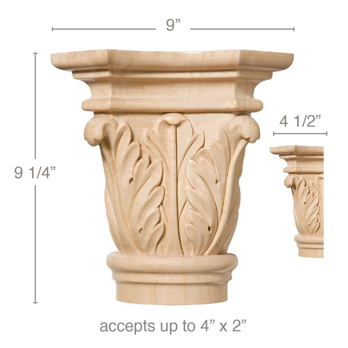 "Grand Acanthus Capital, 9""w x 9 1/4""h x 4 1/2""d, (accepts up to 4""w x 2""d)"