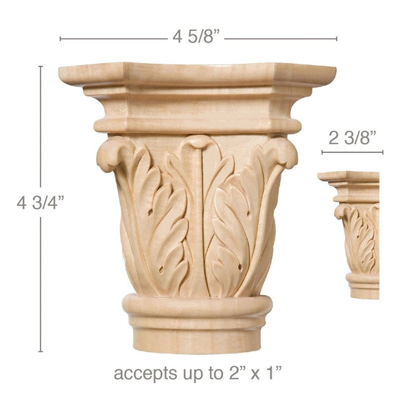 Large Acanthus Capital, 4 5/8''w x 4 3/4''h x 2 3/8''d,  (accepts up to 2