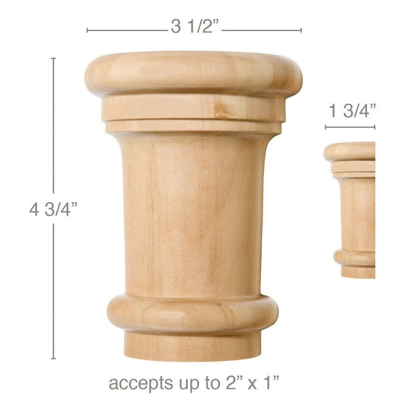 Large Traditional Capital, 3 1/2''w x 4 3/4''h x 1 3/4''d, (accepts up to 2
