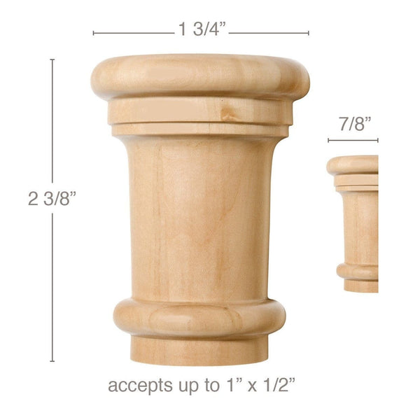 Small Traditional Capital, 1 3/4''w x 2 3/8''h x 7/8''d, (accepts up to 1