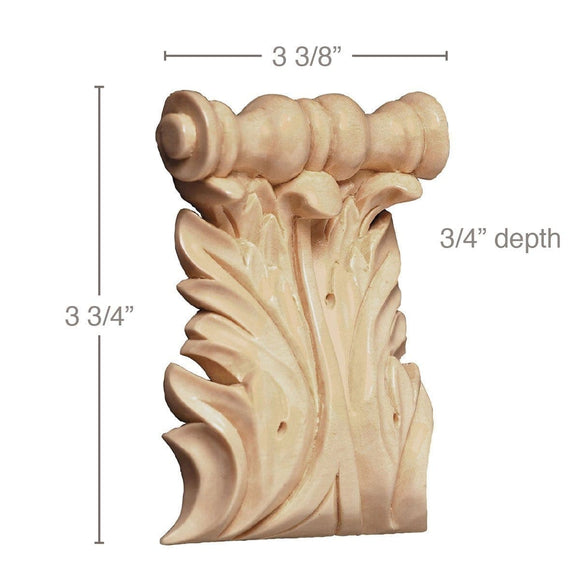 Large Acanthus Spool Corbel, (Sold 2 per card, complements large capitals and 3 1/2