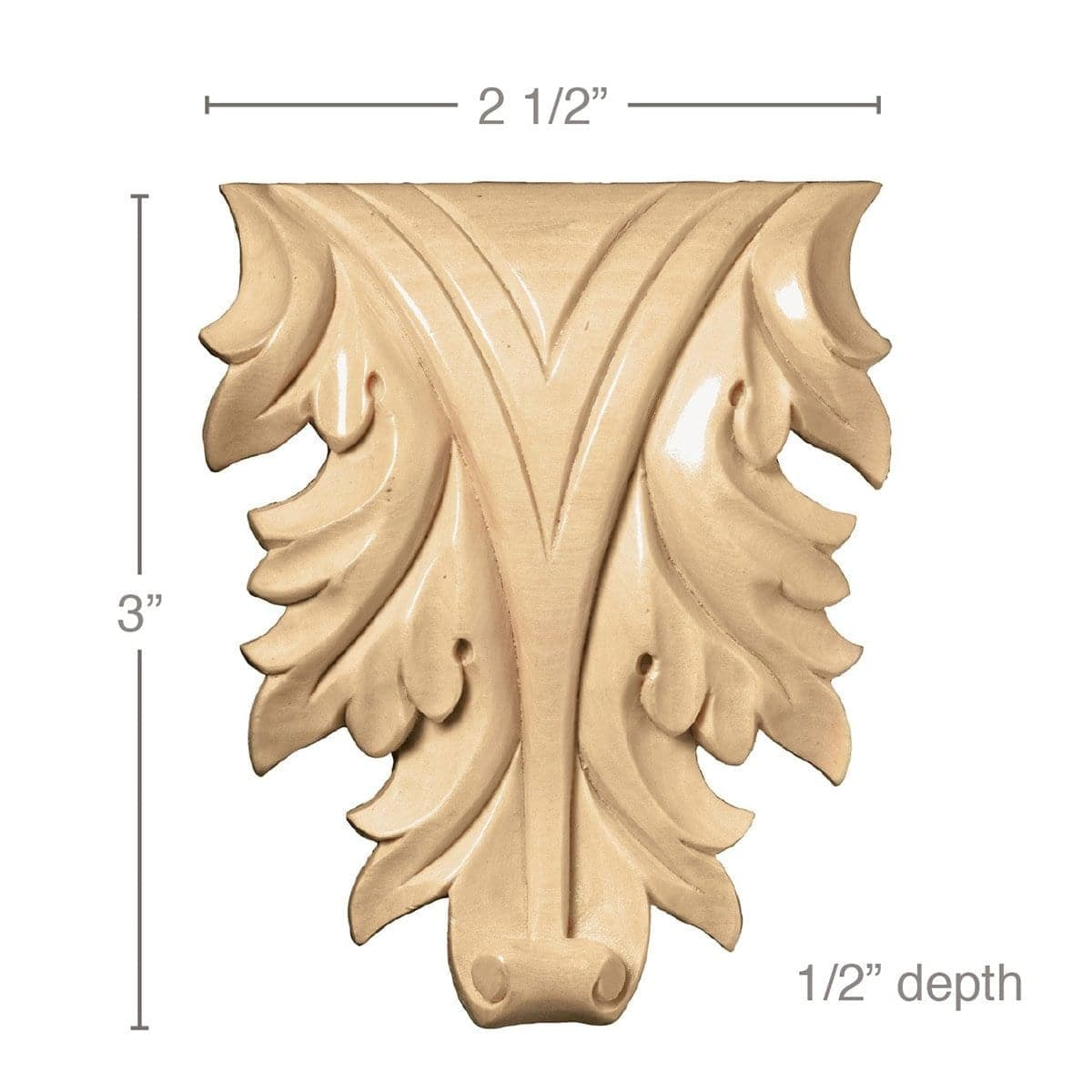 Extra Small Acanthus Leaf, (Sold 2 per card, Fits CRV5582), 2 1/2''w x 3''h x 1/2''d