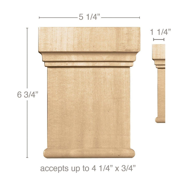 Large Traditional Capital (Accepts up to 4 1/4 x 3/4), 5 1/4''w x 6 3/4''h x 1 1/4''d