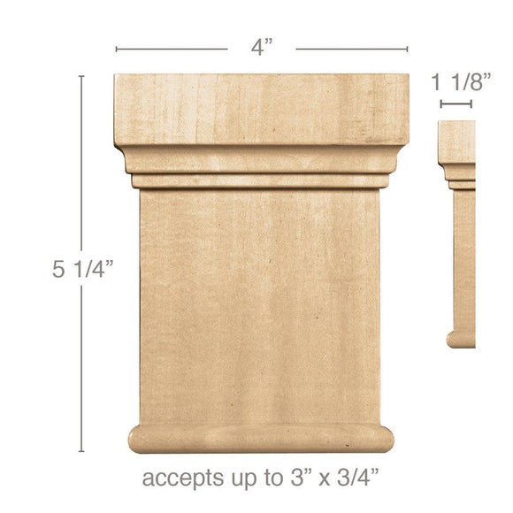 Medium Traditional Capital (Accepts up to 3 x 3/4), 4''w x 5 1/4''h x 1 1/8''d