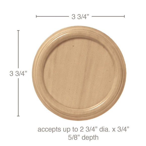 Rosette Plate(Accepts up to 2 3/4 dia. X 3/4), Sold 2 per card, 3 3/4'' dia. x 5/8''