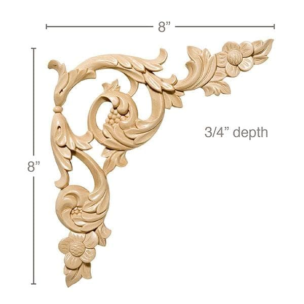 "Floral Acanthus Scrolls (Sold left and right per card), 8""w x 8""h x 3/4""d"