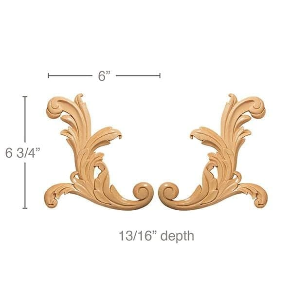 Small Acanthus Scrolls 6 W X 6 3 4 H X 13 16 D White River Hardwoods