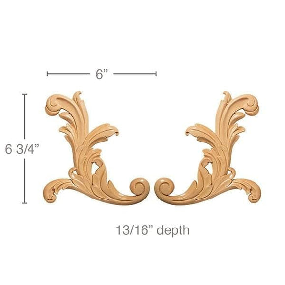 "Small Acanthus Scrolls, 6""w x 6 3/4""h x 13/16""d"