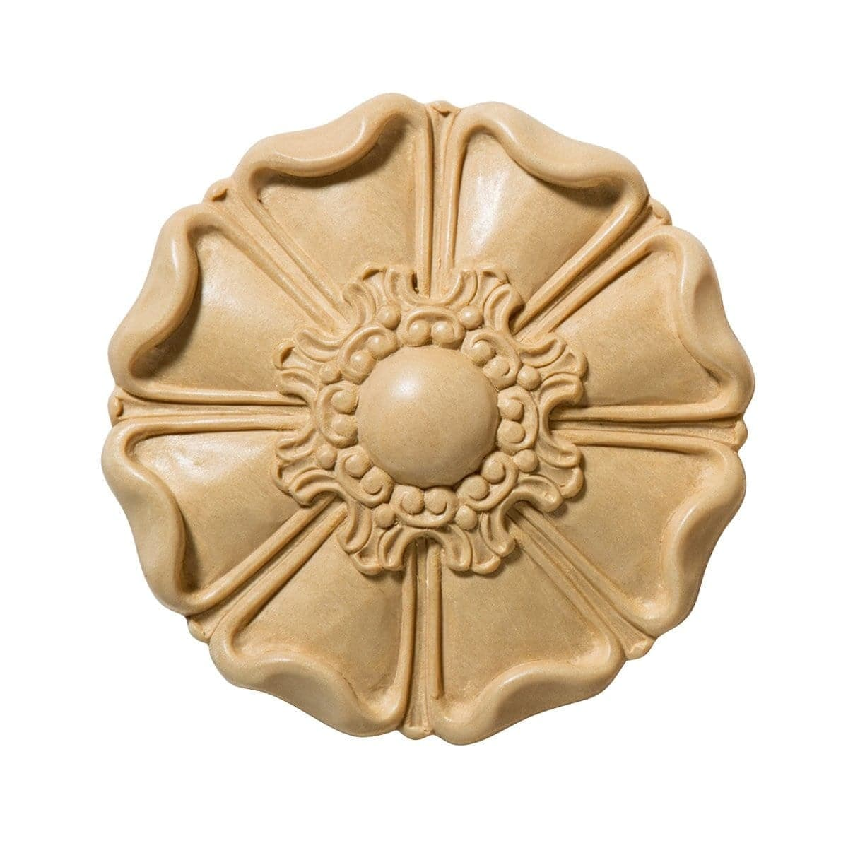 Medium Petal Rosette, 5w x 5h x 1d, 1 pair, Lindenwood
